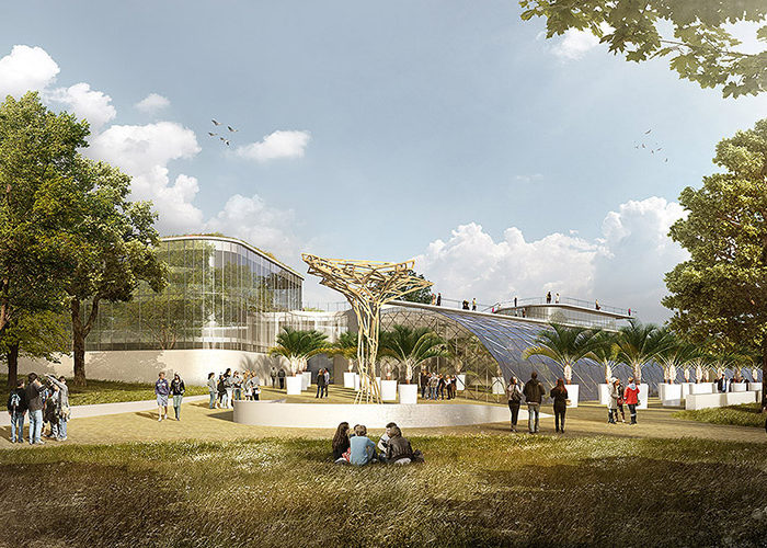 ATELIER KVET Botanical gardens entrance area Prague COMPETITION